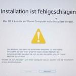 """Fehlermeldung: """"Installation fehlgeschlagen. Das Installationsprogramm konnte den Inhalt des Pakets """"Essentials"""" nicht überprüfen."""""""