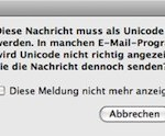 """Entourage Meldung: """"Diese Nachricht muß als Unicode gesendet werden."""""""