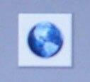 Beim Systemstart wird eine blinkende Weltkugel angezeigt.