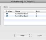 """In der Bildübersicht von QuarkXPress erscheint als Bildname """"Keine Diskdatei""""."""