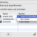 Zugriffsrechte über das Infofenster überprüfen und ändern