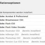 """Adobe CS3-Programme sind im Installer ausgegraut und """"bereits installiert"""" – die Programme sind aber auf dem Rechner nicht vorhanden."""