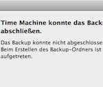 """Time Machine Fehlermeldung: """"Beim Erstellen des Backup-Ordners ist ein Fehler aufgetreten."""""""