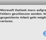 Outlook 2011 stürzt beim Versenden einer Email jedesmal ab.