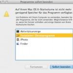 """Mac OS X Fehlermeldung: """"Auf Ihrem Mac OS X-Startvolume ist nicht mehr genügend Speicher für das Programm verfügbar."""""""