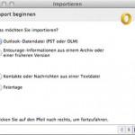 """In Outlook 2011 fehlt beim Import die Option """"Informationen aus einer anderen Anwendung""""."""