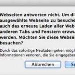 """Fehlermeldung in Safari: """"Webseiten antworten nicht."""""""