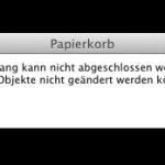 """Mac OS X Fehlermeldung: """"Der Vorgang konnte nicht abgeschlossen werden, da Backup-Objekte nicht geändert werden können."""""""