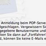 """Apple Mail Fehlermeldung: """"Die Anmeldung beim POP-Server ist fehlgeschlagen"""""""