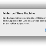 Fehler bei Time Machine: Beim Kopieren der Dateien auf das Backup-Volume ist ein Fehler aufgetreten.