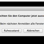 """In Mac OS X 10.9 erscheint ohne Grund das Dialogfenster: """"Möchten Sie den Computer jetzt ausschalten?"""""""