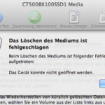 """Fehlermeldung im Festplattendienstprogramm: """"Das Gerät konnte nicht geöffnet werden"""""""