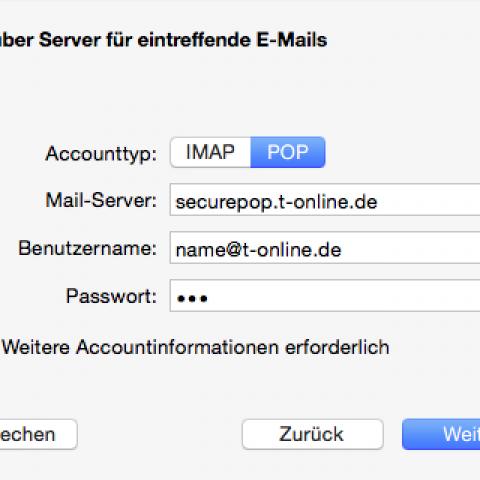 T-Online-Konto als POP-Account in Apple Mail erstellen