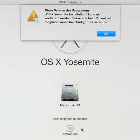 """Fehlermeldung bei der Installation von OS X: """"Diese Version des Programms kann nicht verifiziert werden."""""""