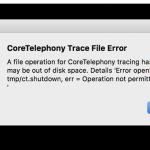 Fehlermeldung in OS X 10.11: CoreTelephony Trace File Error